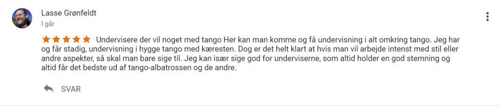 Anmeldelser af Tangoteket på google Lasse
